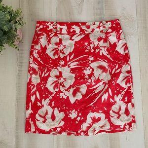LOFT red Floral Pencil Skirt Size 4